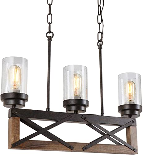 Eumyviv 3 Lights Kitchen Wood Rustic Chandelier