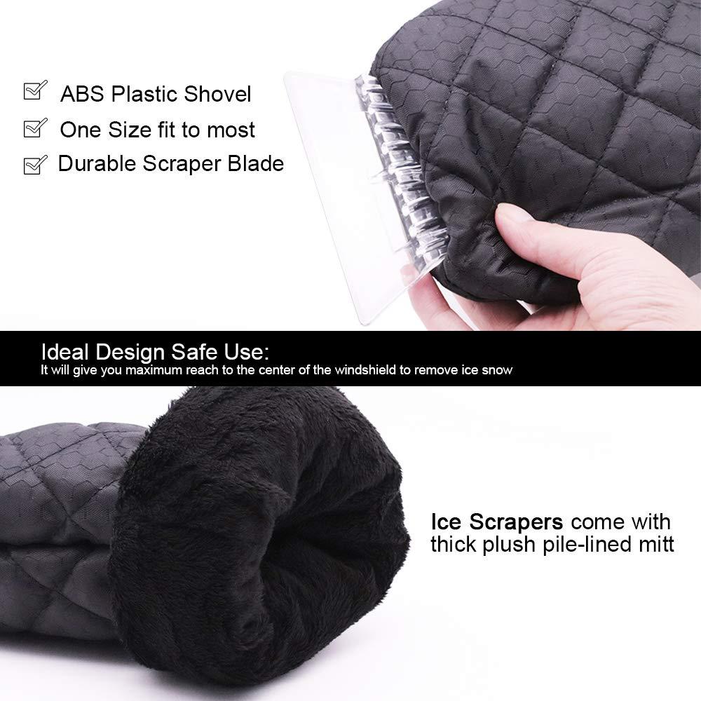 YIZRIO 2-Pack Ice Snow Gloves Scraper Black Waterproof Windshield Snow Scraper Glove for Car 5559000773