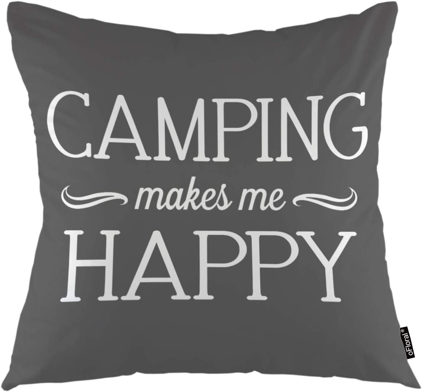 """oFloral Movatational Quote Throw Pillow Covers Camping Makes Me Happy Calligraphy Letter Decorative Square Pillow Case 18""""X18"""" Pillowcase Home Decor for for Sofa Bedroom Livingroom"""