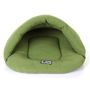 ZHJZ Cómodo Casa para Mascotas Saco de Dormir para Gatos Camas de Animales Calientes Saco de Snuggle Alfombra de Perros Suave Tapete para Puppy/Kitten Green ...