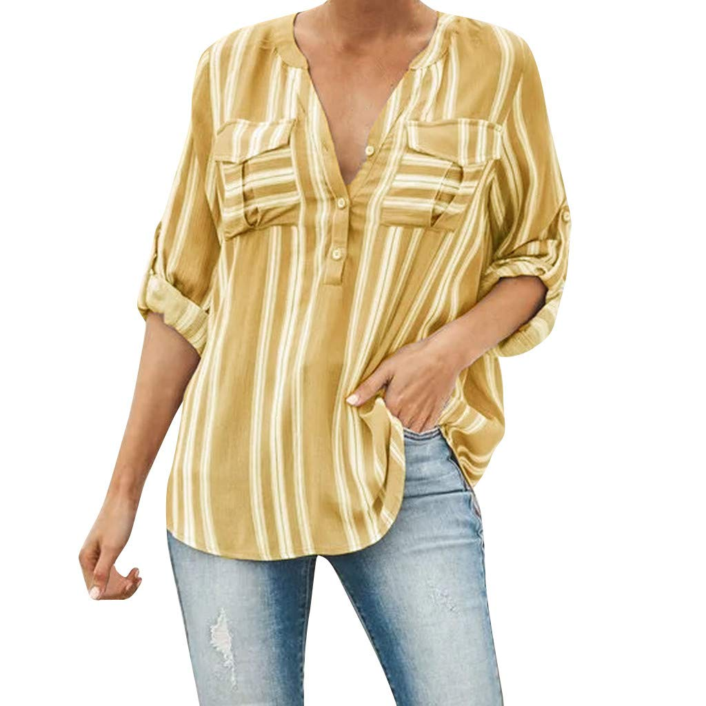 Womens Summer V Neck Striped Blouses Long Sleeve Button-up Shirts Tops Casual Work T-Shirt Tee with Front Pockets SIN+MON