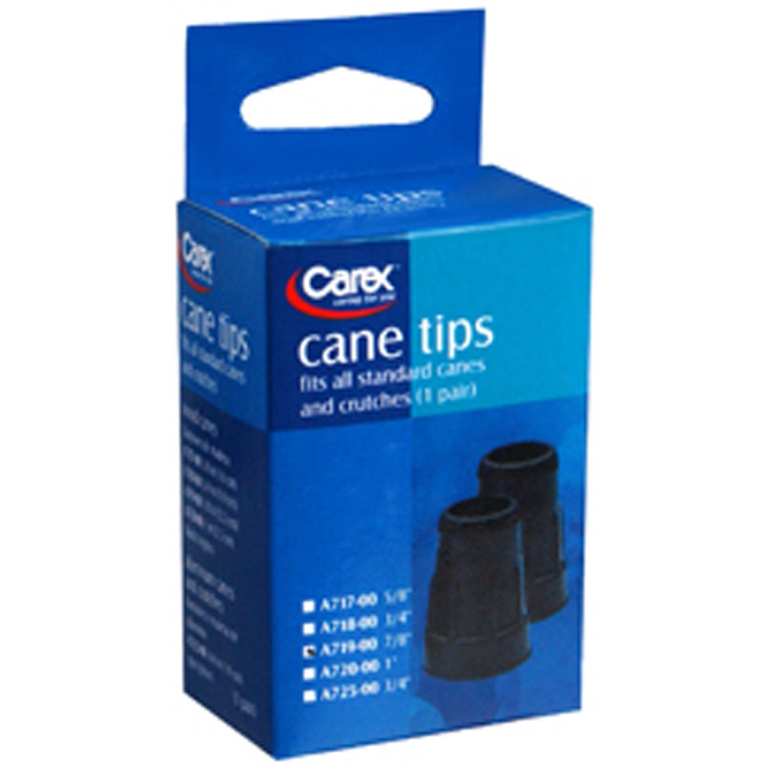 Carex Cane Tips 7/8 inch, Black #A719-00 - 4 pairs