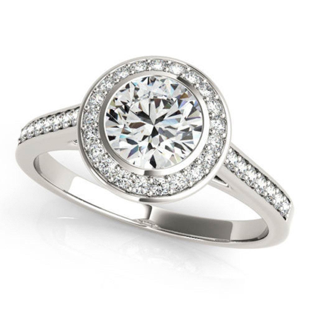 Unique 0.97 ct J-K Moissanite Engagement wedding Ring 925 Sterling Silver