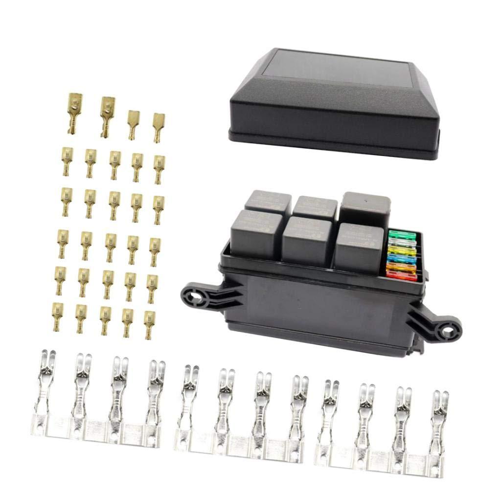 6-Wege-Sicherung Relaishalter Mit 5Ampere 30Ampere Sicherungen Für Autos