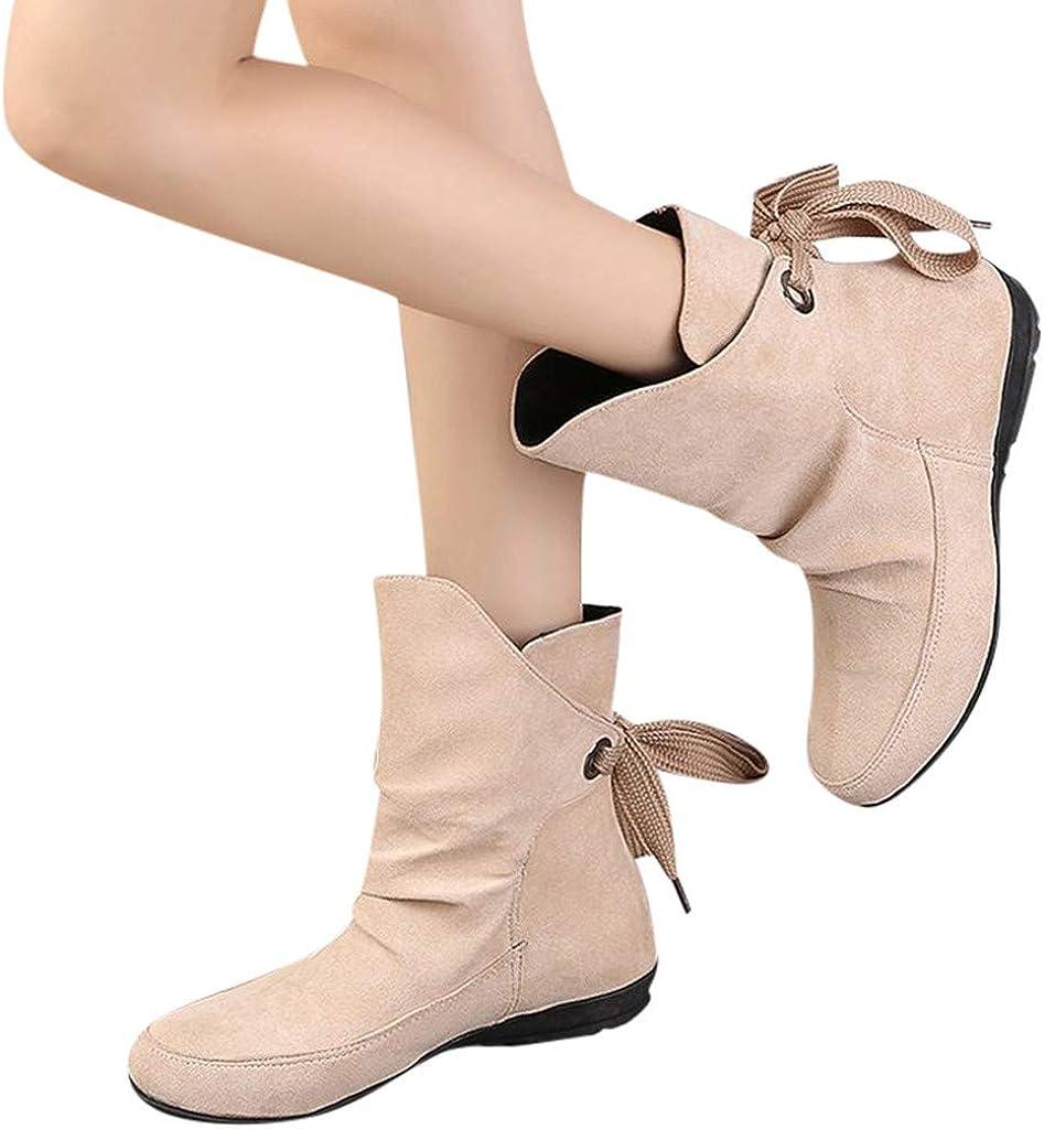 Berimaterry Botas Botas para Mujer OtoñO Invierno Moda Zapatos Botas de Lluvia Cortas de Moda para Mujer Mujer Zapatos de Mujer Hebilla con Cordones Botines Romanos Botas Cortas