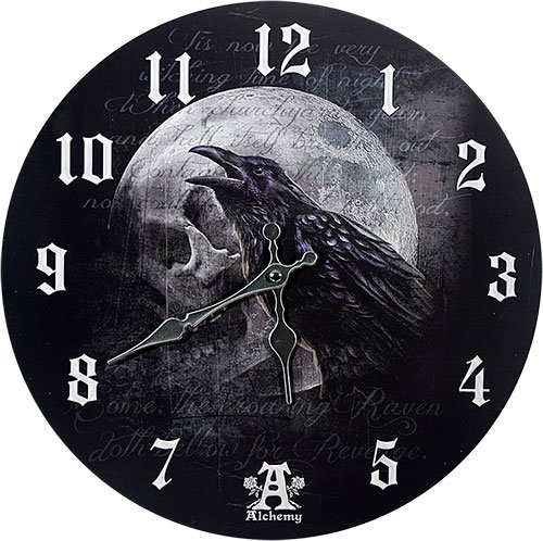Pacific Giftware Poe's Raven's Skull Curse Wall Clock by Alchemy Gothic Round Plate 13.5