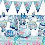 Mermaid Party Supplies Set include Tablecloth, Mermaid Pennant, Blow Dragon,Speaker,Eye Masks, invitation Cards &Gift Bags Kids Party Favors (16 Set-90 Pcs)