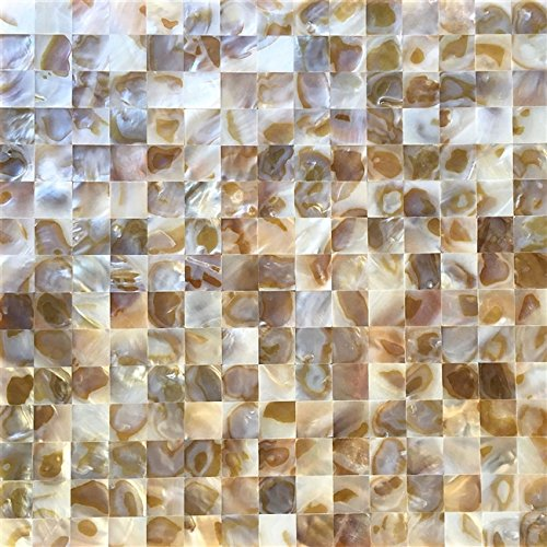 Mother of Pearl Tile Oyster White Natural Varied Sea Shell Seamless Square Pack of 5 Sheets ()