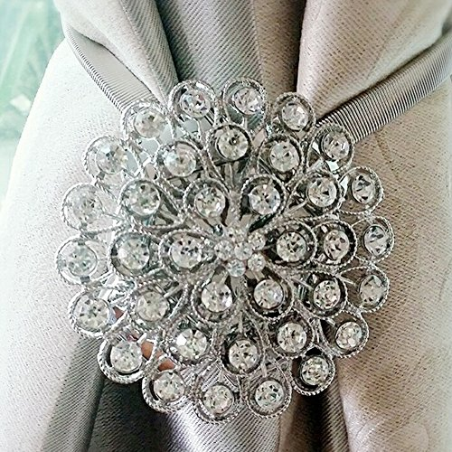 LianLe Rhinestone Magnetic Curtain Buckle with Spring Wire Curtain Tiebacks for Home Window Decoration, Transparent