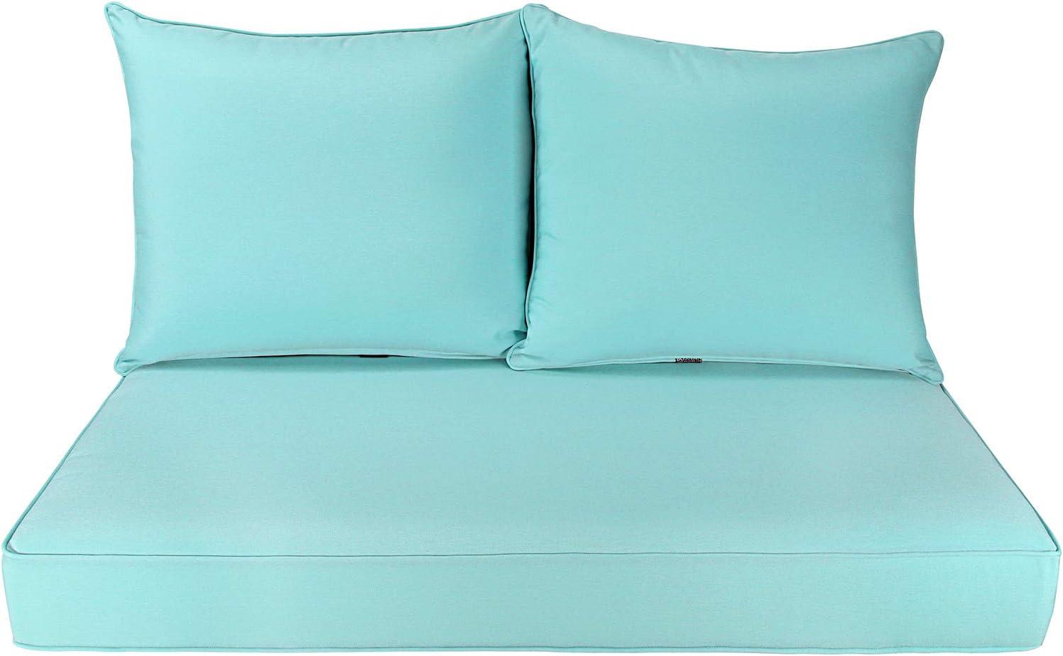 BOSSIMA Patio Furniture Cushions Comofort Deep Seat Loveseat Cushion Indoor Outdoor Seating Cushions Light Blue