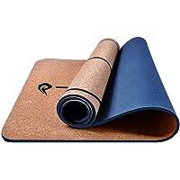 HANXIAODONG Colchoneta de Yoga Tapete de Yoga de Corcho Natural con Bolsa y Correa Antideslizantes for Pilates, Fitness & Workout
