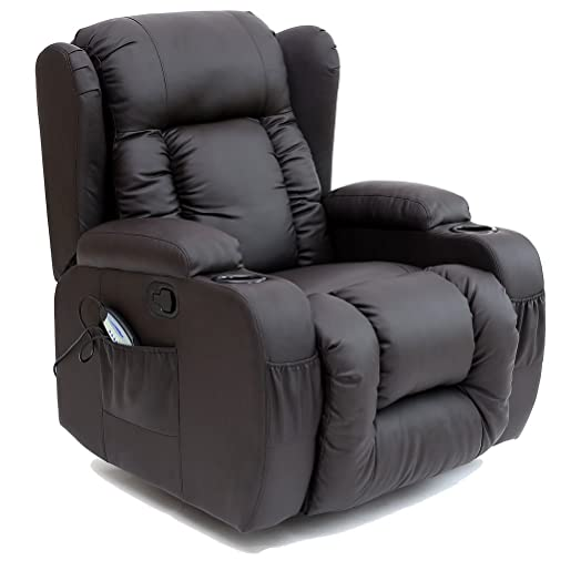 CAESAR 10 IN 1 WINGED LEATHER RECLINER CHAIR ROCKING MASSAGE SWIVEL HEATED GAMING ARMCHAIR (Brown  sc 1 st  Amazon UK : leather reclining chairs uk - islam-shia.org