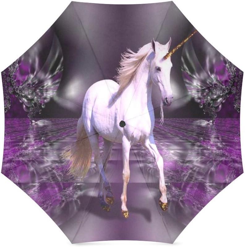 Custom Fantash Unicorn Horse Compact Travel Windproof Rainproof Foldable Umbrella