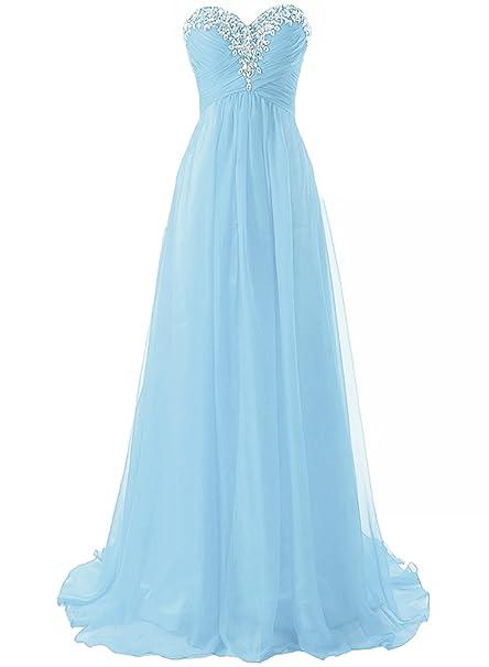 ASVOGUE Mujer Vestido de Fiesta Bandeau Diamantes Falsos Elegantes, Azul Claro S