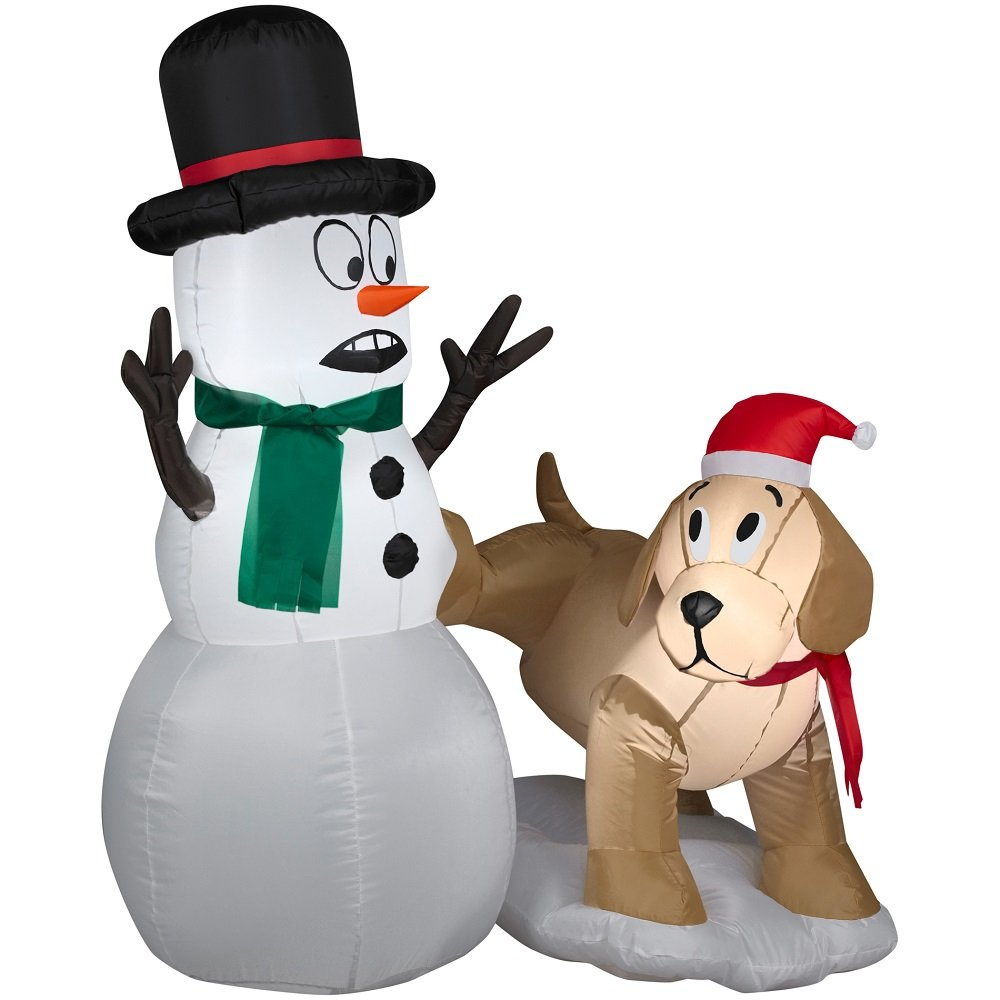 Christmas Inflatable Part - 29: Amazon.com: 4 Ft Tall Snowman And Dog With LED Lights Christmas Inflatable  By Gemmy: Garden U0026 Outdoor
