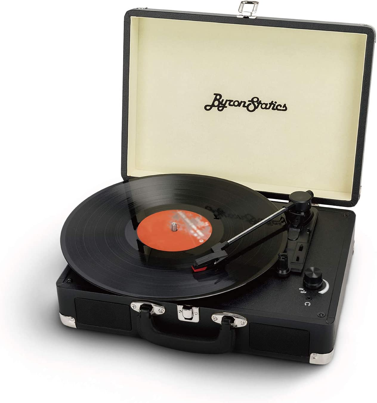 Byron Statics Turntable Vintage Record Player Portable Vinyl Player Nostalgic Built In 2 Stereo Speakers 3 Speeds Replacement Needle DC IN Standard RCA Headphone Outputs For Christmas Black Friday