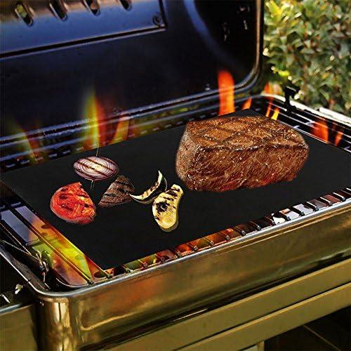 Tapis de Cuisson pour Barbecue et Four, LangTek Lot de 4 Tapis BBQ Anti-adhérent Réutilisable Nettoyable, Idéal au Gaz Charbon, 330 x 400 x 0.2 mm