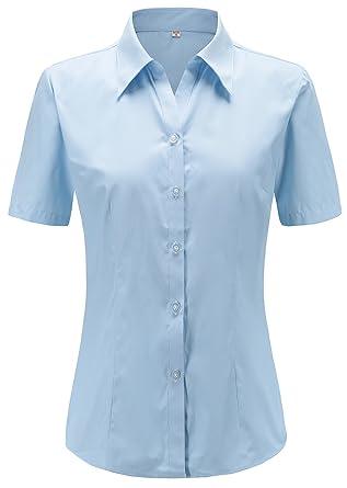 6fccc582c1f0 Dioufond Modisch Damen Shirt Kurzarm Revers Schlank Hemd Arbeit V-Ausschnitt  mit Knöpfe Stehkragen Casual Oberteil Business Bluse Bügelfrei  Amazon.de   ...