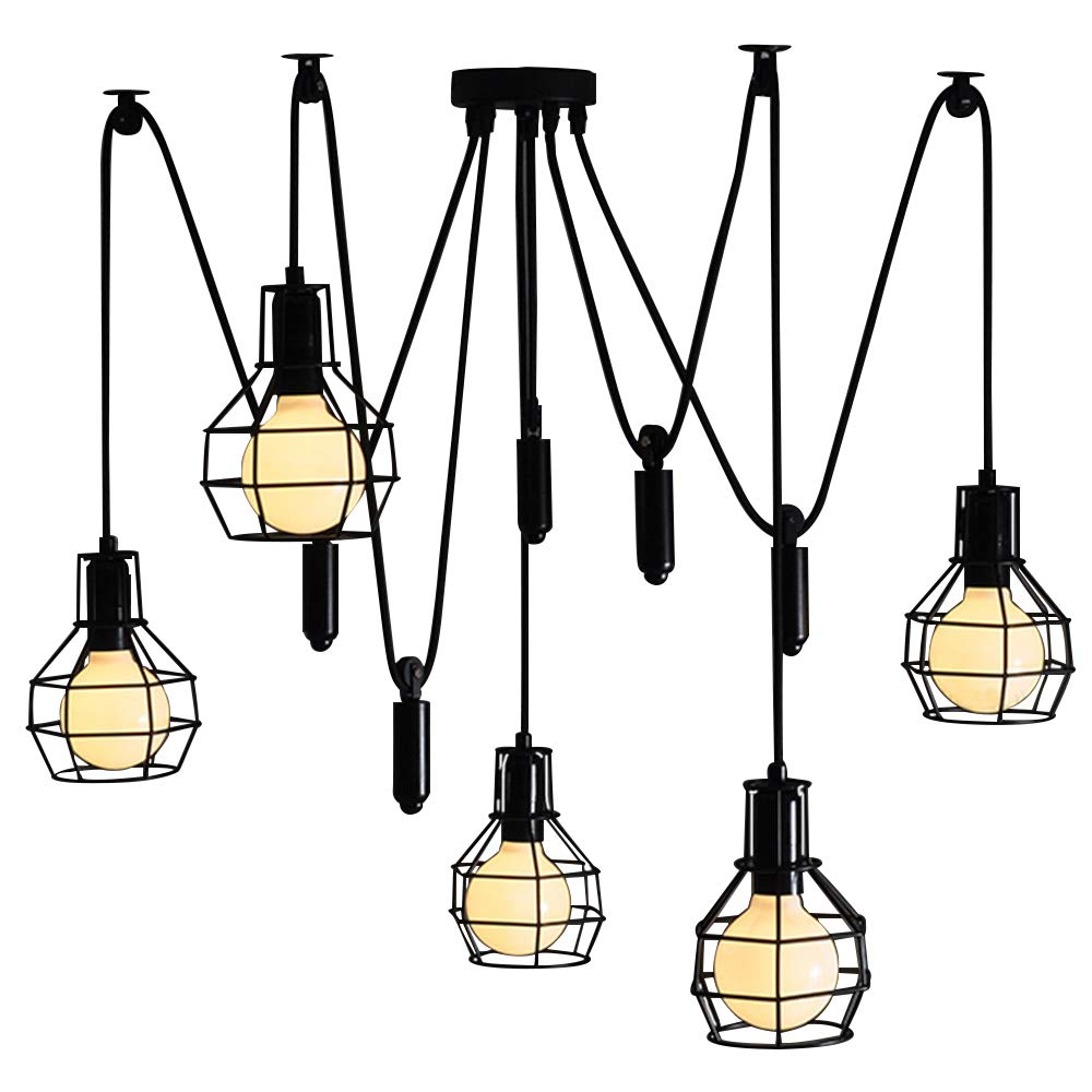 BAYCHEER HL371339 Industrial 5 Lights Chandelier Pulley Cage Shade LED Pendant Lighting Hanging Lamp Ceiling Lights Lantern Style with Cage Frame for Indoor Bar Warehouse Hallway in Black