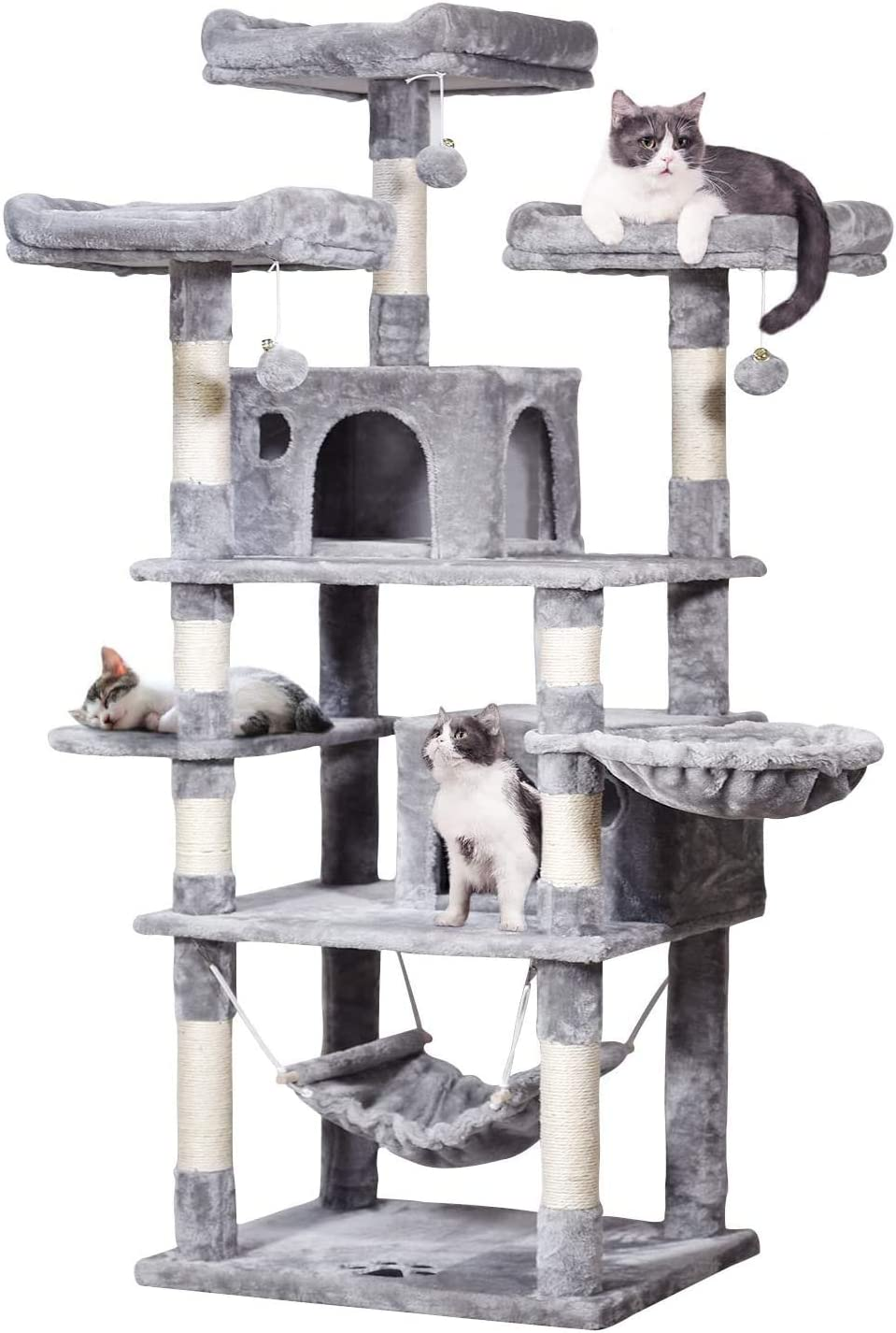 MQ Large Cat Tree Cat Tower with Sisal Scratching Posts Plush Perches Condos Hammock, 67'' Cat Activity Centres Kittens Furniture Play House, Grey/Smoky Grey