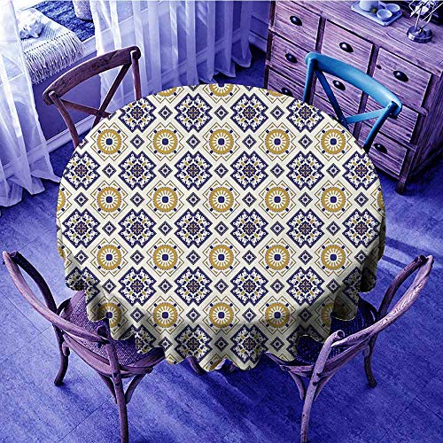 ScottDecor Vintage Fabric Tablecloth Classical Victorian Pattern with Geometric Shapes and Floral Swirls Overlays Round Tablecloth Goldenrod Dark Blue Beige Diameter 54