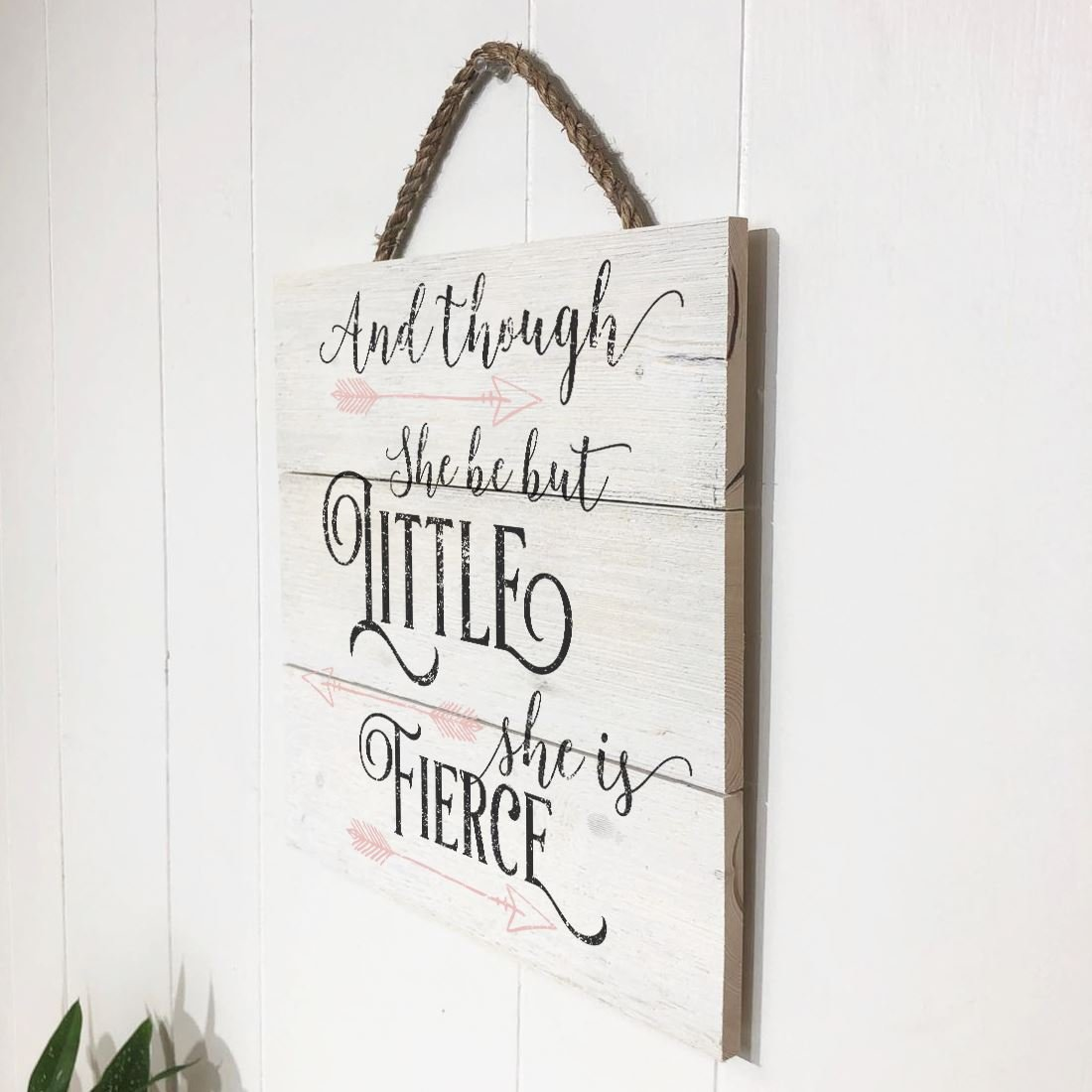 Artblox Rustic Nursery Room Sign And Though She Be but Little She is Fierce Quotes, Arrows Ornaments Artwork, Barn Wood Pallet Farmhouse Wooden Plaque Art Print, 10.5x10.5 - White by Artblox (Image #5)