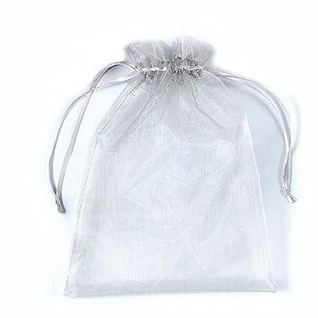 PLECUPE 100 Pcs 16x22cm Bolsas Bolsitas de Organza, Organza de Bodas Regalo de la Joyeria de Caramelo Bolsa - Gris