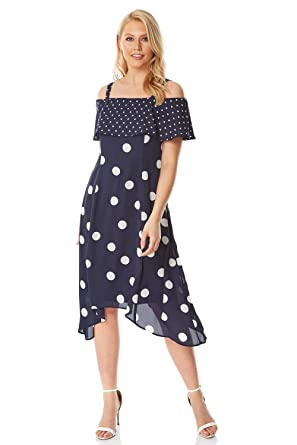 f5901aca87be Roman Originals Womens Polka Dot Cold Shoulder Dress - Ladies Everyday Smart  Casual Work Office Meeting Wedding Guest Comfortable Round Neck Knee Length  ...