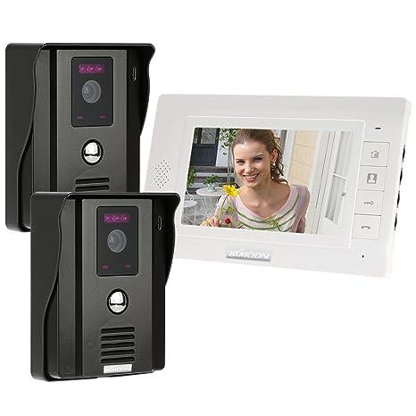 """KKmoon 7"""" Monitor Timbre Video Portero Intercomunicador (2 Cámara de Vigilancia, Desbloqueo Remoto"""