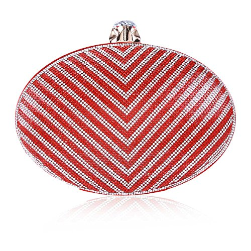 Hardcase Damara Shining Oval Rhinestone Women Red Clutch Evening fZH1Fqv