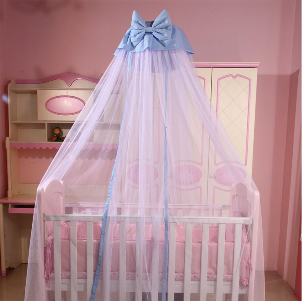 CdyBox Breathable Crib Netting Bed Curtains Canopy for Kids Mosquito Net Bedroom Decor (Blue, Mosquito net+Stand) by CdyBox (Image #5)