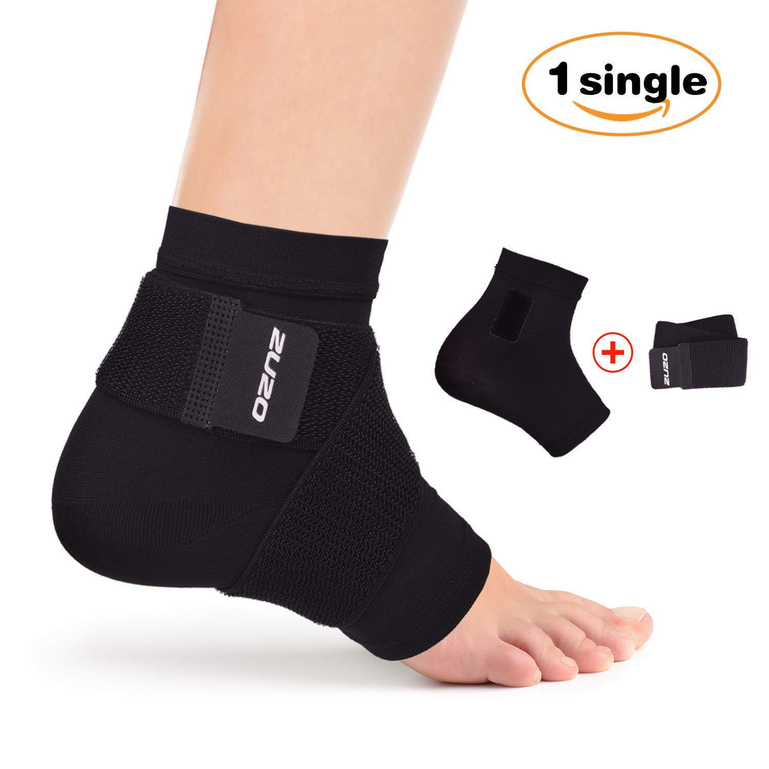2U2O Adjustable Compression Ankle Support Brace - Breathable Ankle Sleeve for Men & Women- Pain Relief for Plantar Fasciitis,Ankle Swelling, Foot Pain- Reduce Ankle Sprain-M by 2U2O