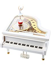 SODIAL Carillon Music Box Music Box Grand Piano White Ballerina New