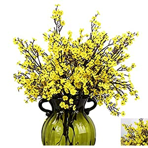 XelparucTS Babys Breath Fabric Cloth Artificial Flowers 4 Bundle European Fake Silk Plants Decor Wedding Party Decoration Bouquets Real Touch DIY Home Garden(Yellow) 93
