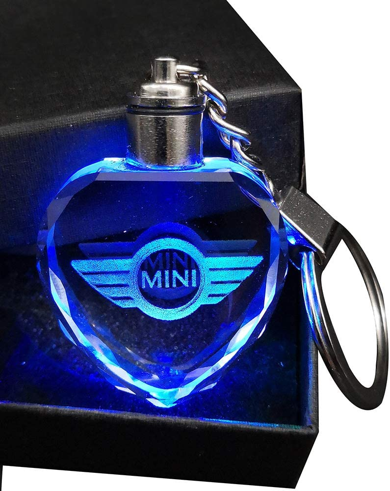 VILLSION 2019 LED Car Key Chain Heart Love Crystal Light Automatically Changing Color Keychain Car Accessories with Gift Box