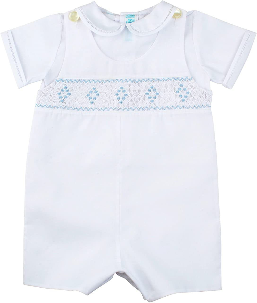 Feltman Brothers Blue White Smocked Bobbie Suit Boys Christening Outfit