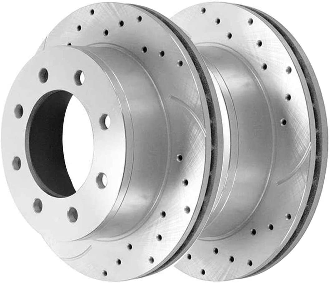 Auto Shack PR65057DSZPR Rear Drilled and Slotted Brake Rotor Pair Silver