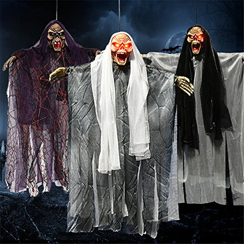 YHOOEE Halloween Decoration 3PSC Hanging Ghost Haunted House Party Props Voice Sound Control Scary Skull For Indoor Outdoor Garden With Glowing Red Eyes]()