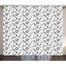 Ambesonne Geometric Curtains by, Pattern in Postmodern Memphis Style Different Shapes Scattered on White, Living Room Bedroom Window Drapes 2 Panel Set, 108 W X 63 L Inches, Grey Black White