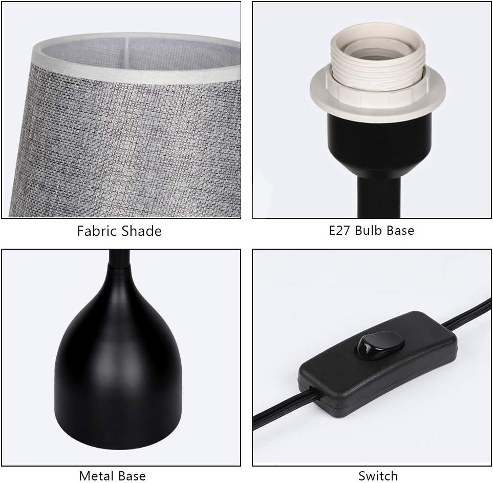 Elegante lampada da tavolo moderna lampada da comodino vintage con base in metallo e paralume in tessuto per soggiorno Grigio Lampada da tavolo nera alta
