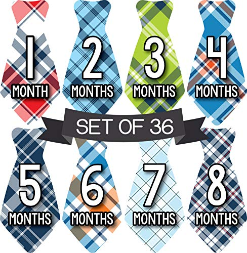 Milestone Stickers Boy - Monthly Baby Stickers Boy - Baby Boy Monthly Stickers - Tie Stickers for Boys - Baby Milestone Stickers - Baby Month Stickers - Boys Ties for Boys