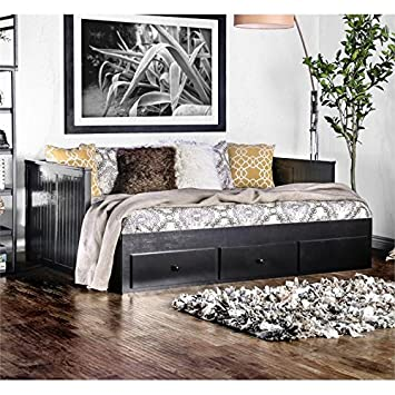 Amazon.com: Furniture of America Aidan Full Daybed with Drawers in ...
