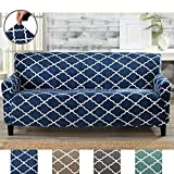 Great Bay Home Modern Velvet Plush Strapless Slipcover. Form Fit Stretch, Stylish Furniture Shield/Protector. Magnolia Collection Strapless Slipcover by Brand. (Sofa, Navy)