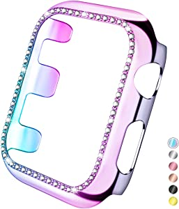 Mastten 40mm Case Cover Compatible with Apple Watch, Bling Diamond Bordered Protector Compatible with iWatch Series SE 6 5 4, Colorful