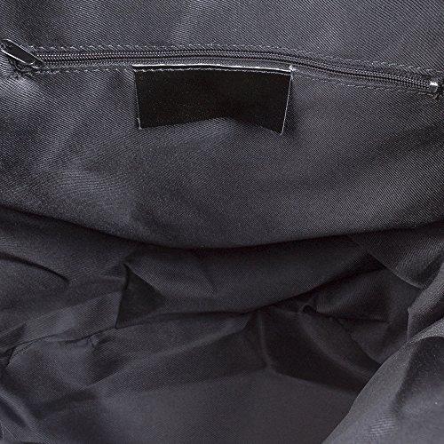 FIRENZE ARTEGIANI.Mochila de mujer casual piel auténtica.Bolso mochila cuero genuino,piel Savage,tacto suave.DAY PACK. MADE IN ITALY. VERA PELLE ITALIANA. 32x40x17 cm. Color: NEGRO
