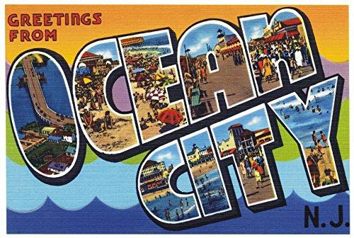 Greetings from Ocean City, New Jersey, NJ, Postcard Art, Vintage, Souvenir, Travel, Locker Magnet 2 x 3 Fridge - Jersey Nj City