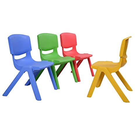 NEW Set Of 4 Kids Plastic Chairs Stackable Play And Learn Furniture Colorful