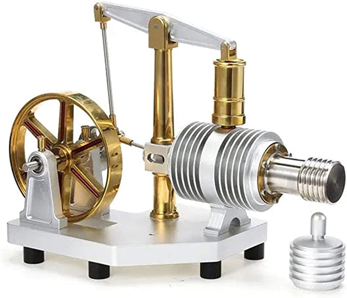 Sliver Motor Miniature Steam Power Physics Toy Lab Teaching Model Education Toy Generator Solid Metal Construction F Fityle Hot Air Stirling Engine