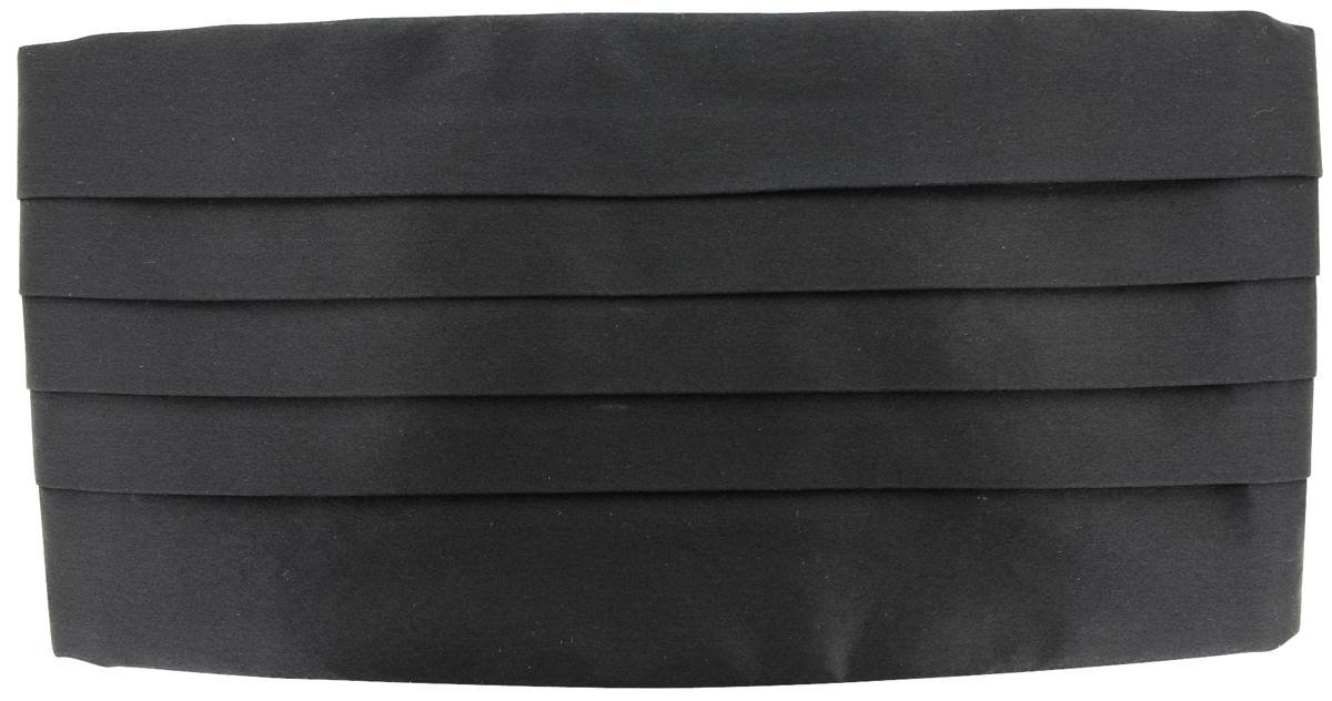 Black Plain Silk Cummerbund by David Van Hagen