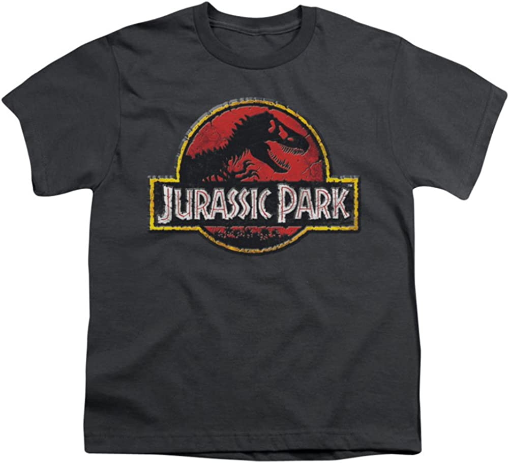 Jurassic Park 1993 Sci-Fi Thriller Movie T-Rex Broken Stone Logo Big Boys Tee